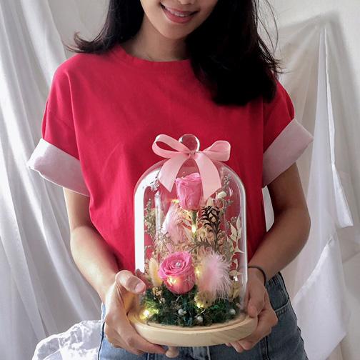 Flower Bell Jar - Pink
