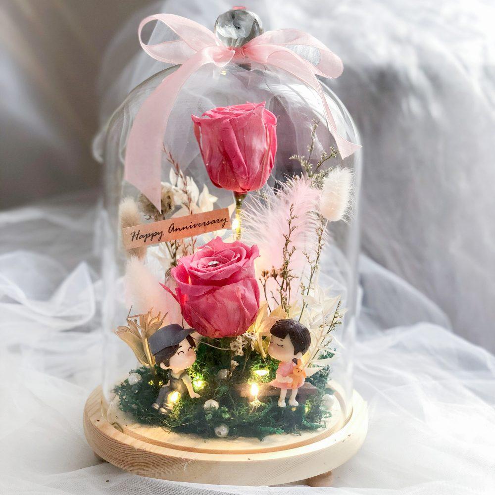 Romantic Flower Bell Jar
