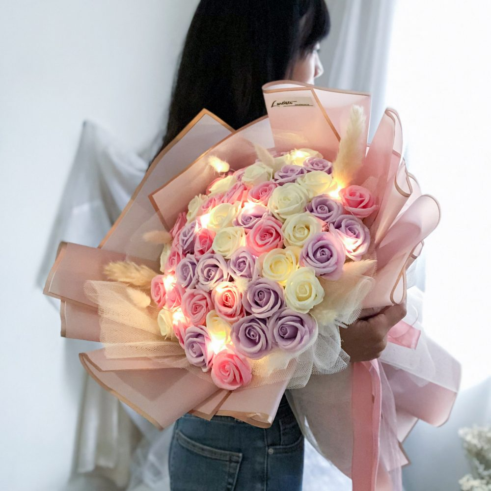 soap roses with fairy lights