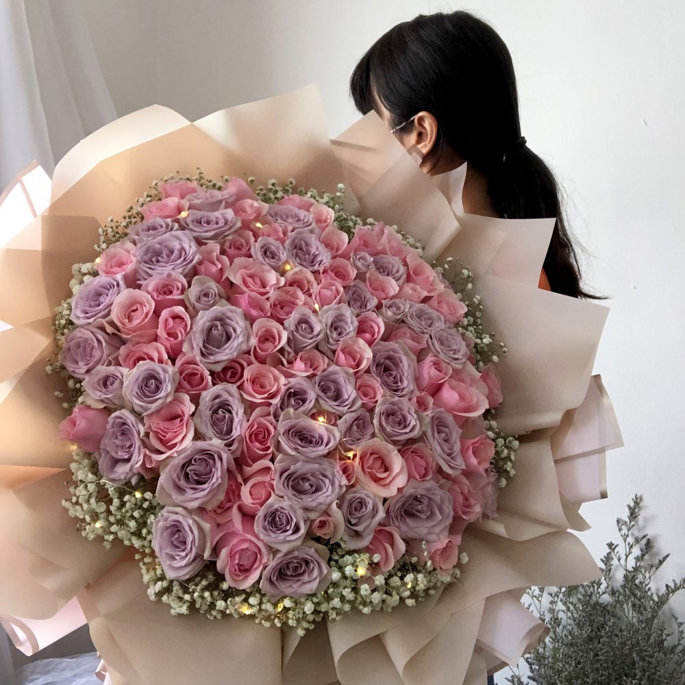 99 Pink & Purple Roses