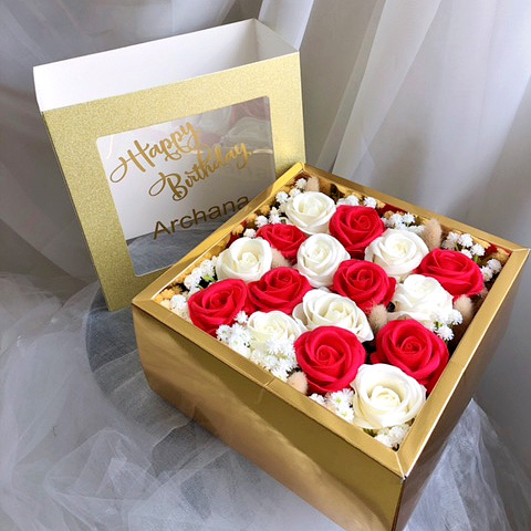 Soap Roses in Gold Box