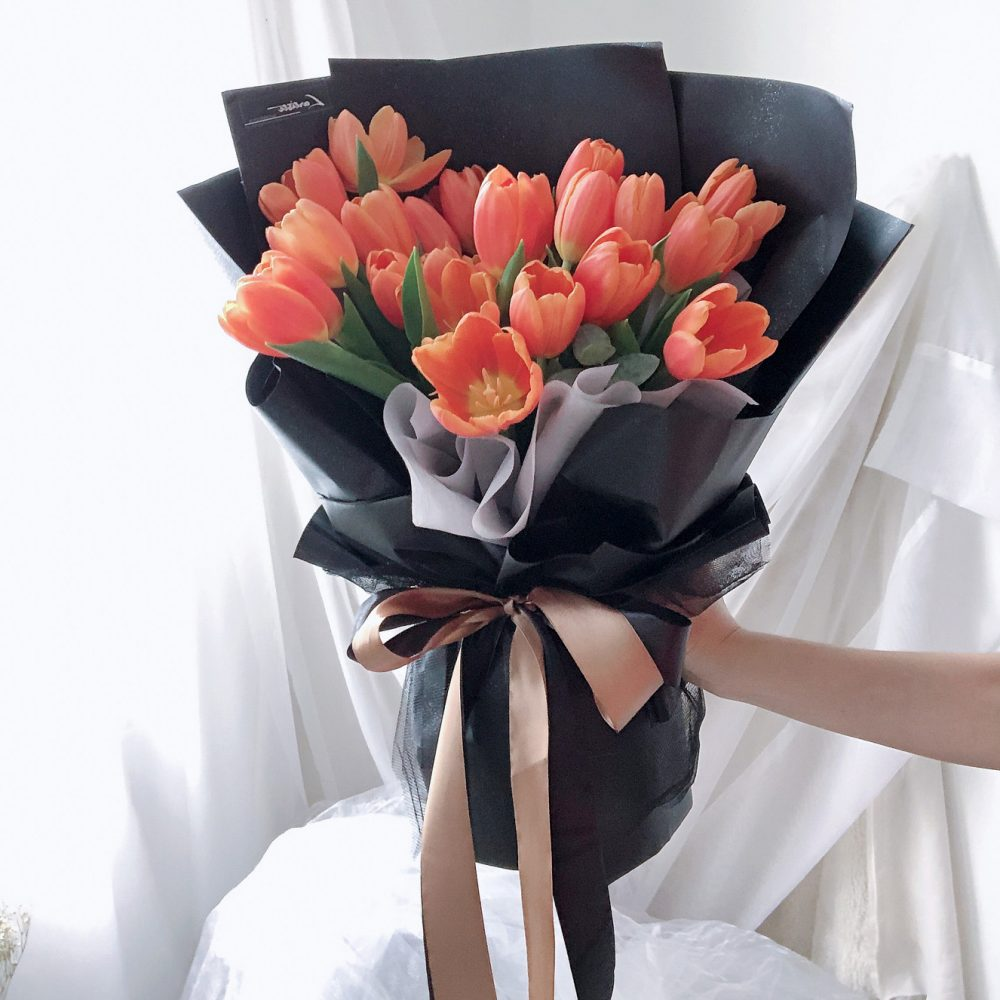 Orange Tulips Bouquet - 20 Stalks