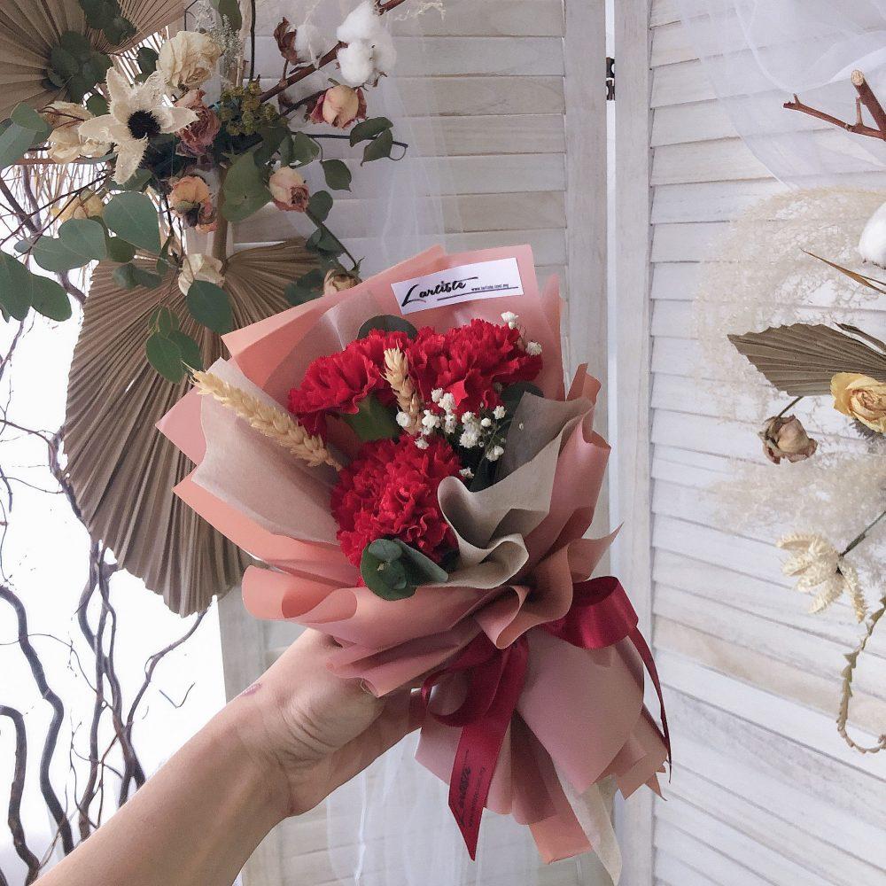 Red Carnation - 3 stalks