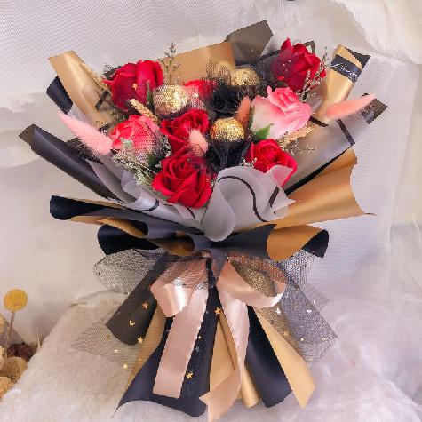 Soap Flowers Bouquet with Ferrero Rocher