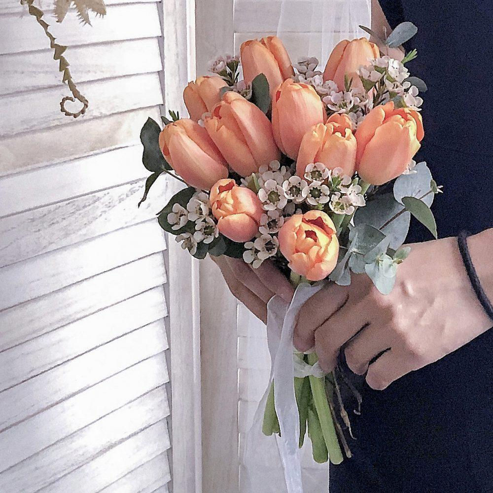 Bridal Bouquet - Orange Tulips