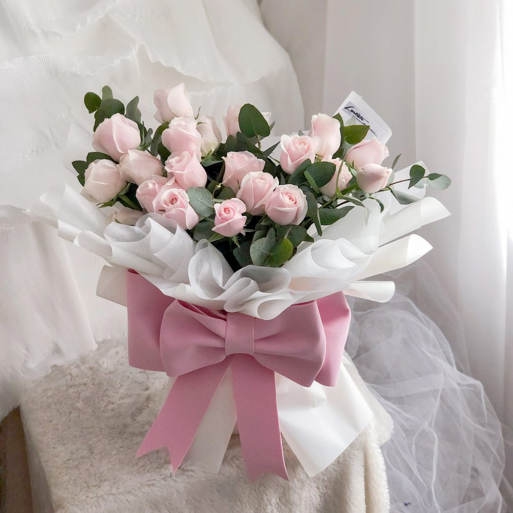 Pink Roses Bouquet with Ribbon - 20 stalks