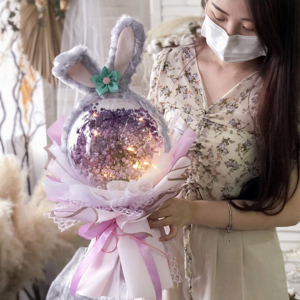 Purple Rabbit Acrylic Ball Bouquet