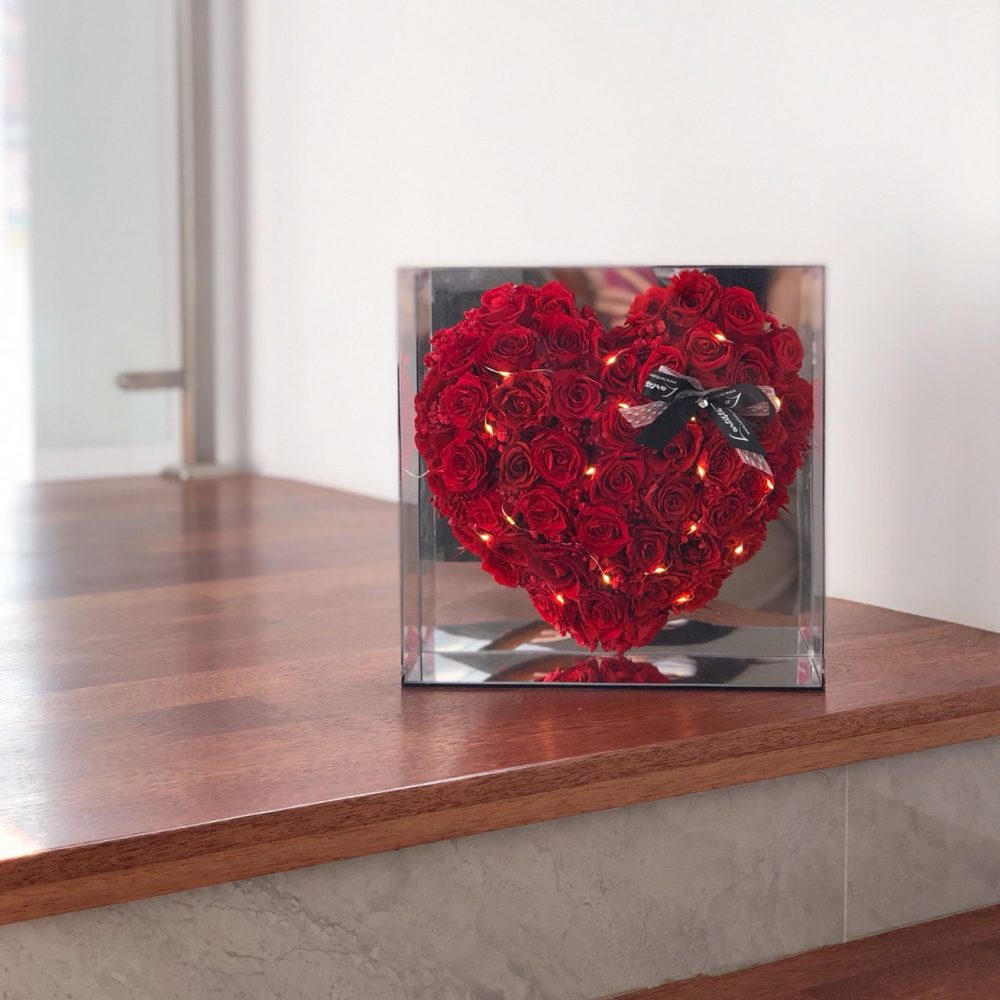 Preserved Red Roses in Mirror Frame