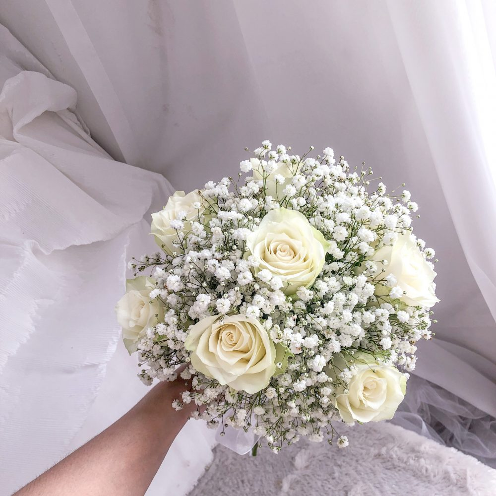 Bridal bouquet - white roses with baby breath