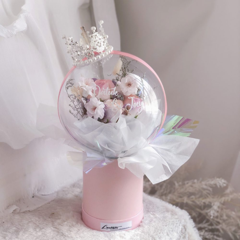 soap flowers in acrylic ball